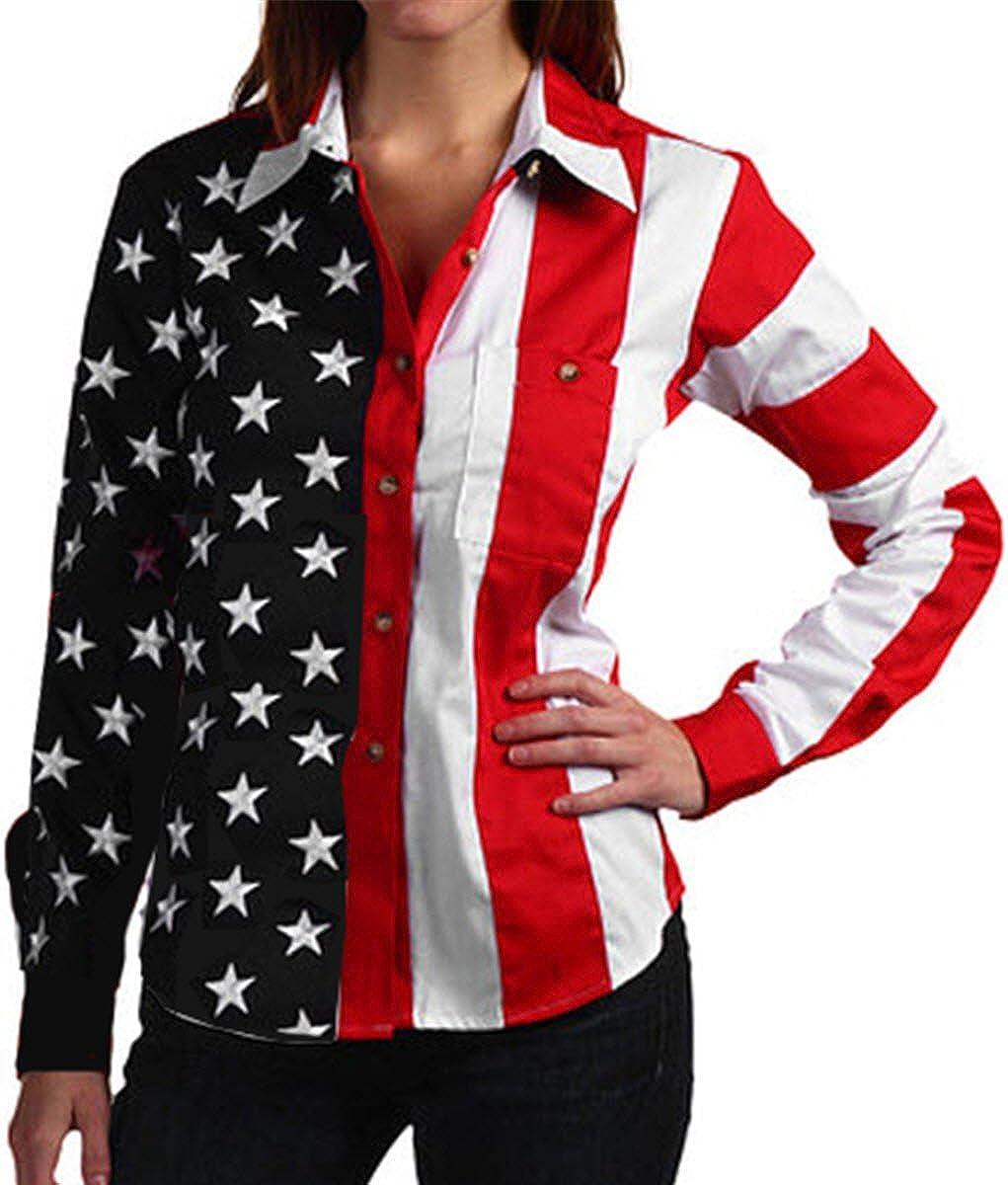 Woven Long Sleeve American Flag Women's Polo Shirt