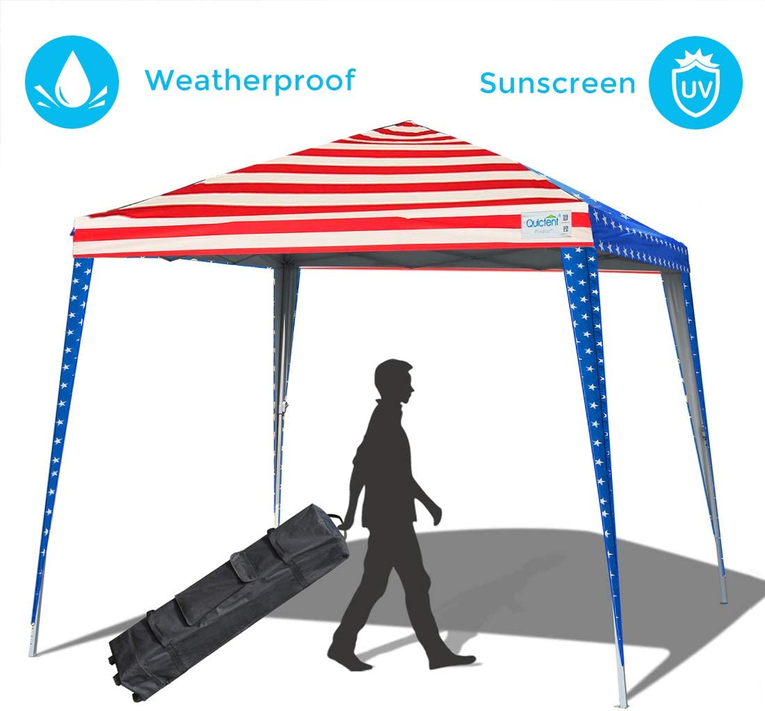 Quictent Privacy 10×10 EZ Pop Up Canopy Tent Party Tent Outdoor Event Gazebo Waterproof with Roller Bag Slant Leg American Flag