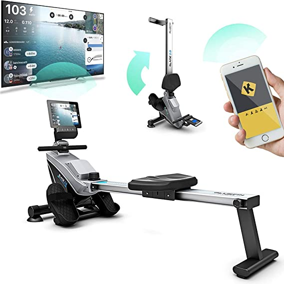 Bluefin Fitness Rower Machine Blade Home Gym Foldable | Magnetic Resistance Rower | 8 x Tension Levels | Smooth Belt Drive | LCD Digital Fitness Console | Smartphone App | Black & Grey Silver
