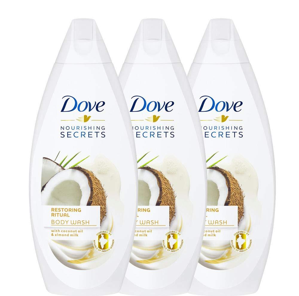 (3-Pack) Dove Restoring Ritual Body Wash Coconut Oil Almond Milk Shower Gel 16.9oz