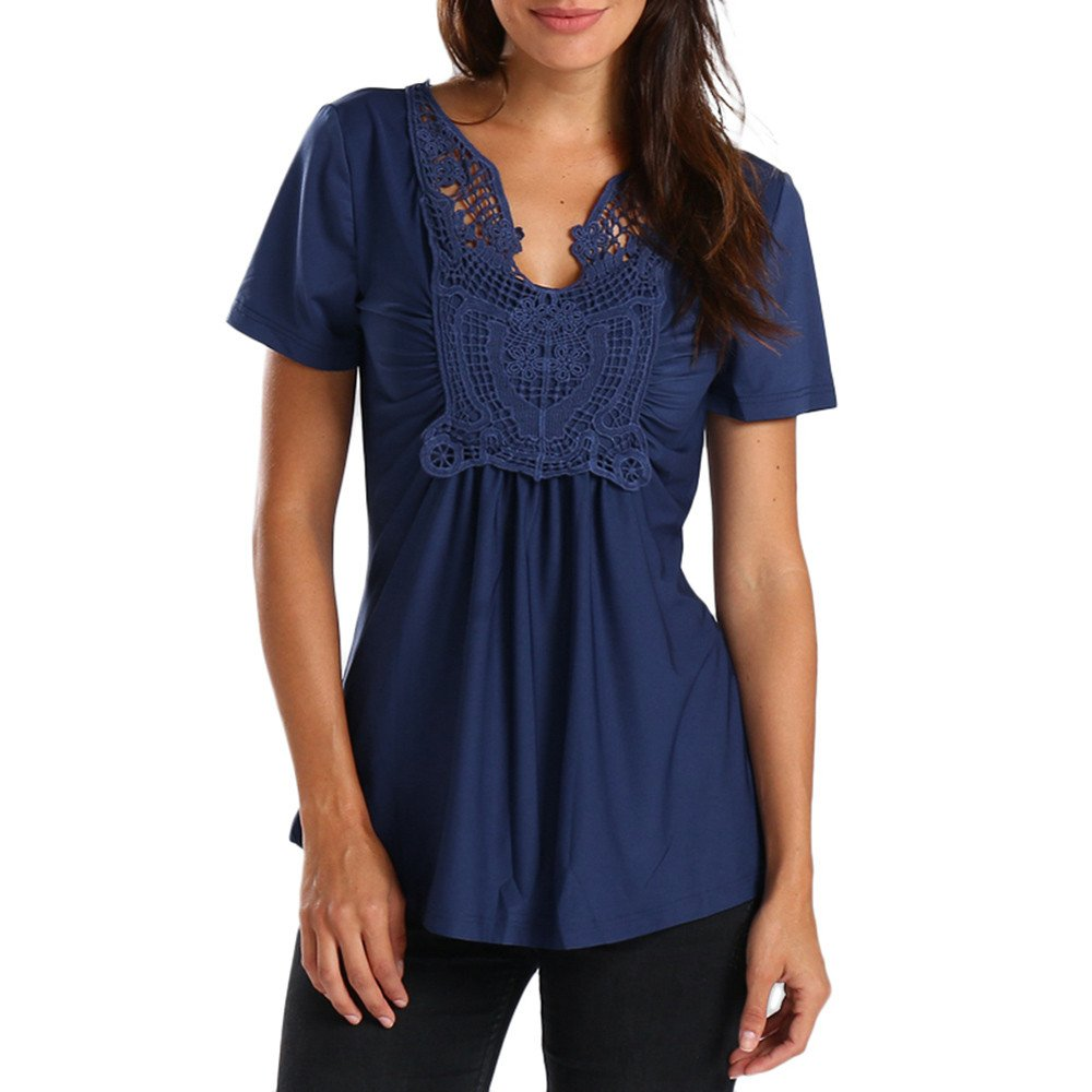 Vickyleb Womens Tops Summer Butterfly Lace Splice T-Shirts Casual Short Sleeve Tops Blouses V Neck Shirts Blue