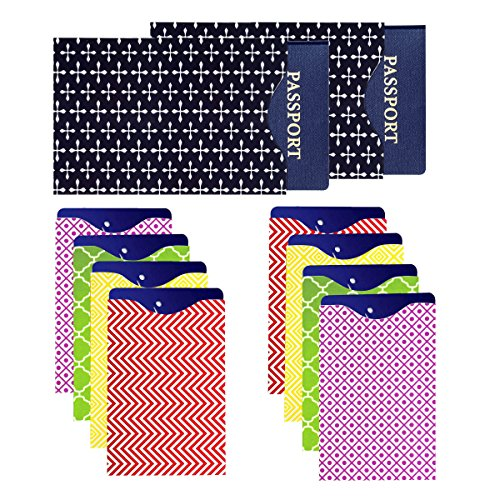 Laminated Passport and Credit Card Protector - Set of 8 Credit Card and 2 Passport RFID Blocking Sleeves; Fit in Wallet and Purse, Assorted (Gun Safe 36 Gun Capacity)