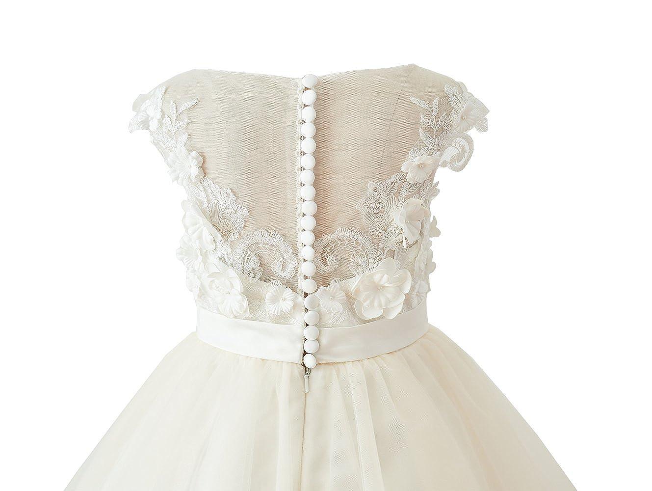 aac193f2b8d Amazon.com  Miama Ivory Lace Champagne Tulle Wedding Flower Girl Dress  Junior Bridesmaid Dress  Clothing