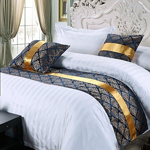 Y-Step - Camino de cama de lujo, accesorio de cama ideal para decoracion de hotel, algodon, azul, 50x180cm