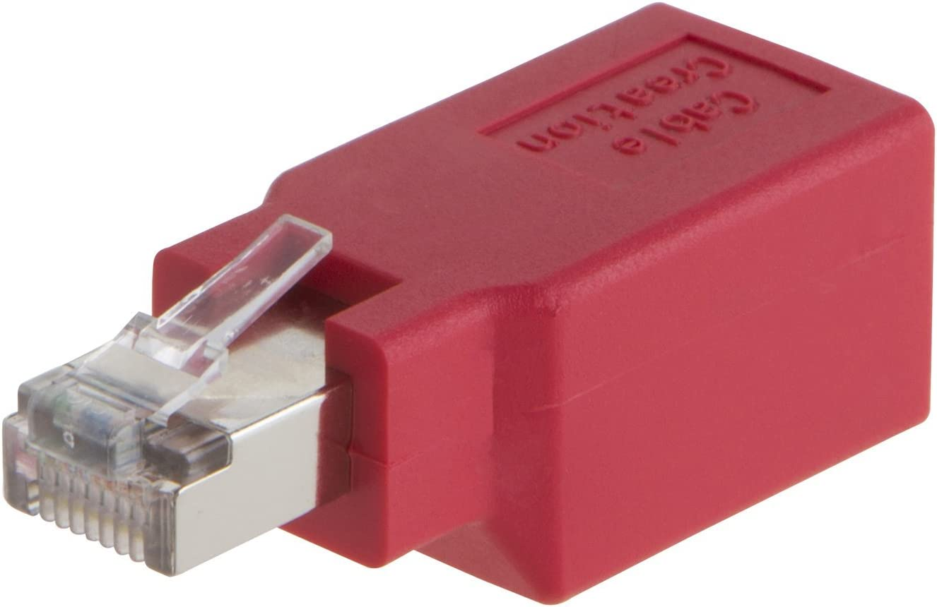 Adapter Red Color Cat6//Cat5e Ethernet RJ45 Male//Female Adapter to Connect 2 Computers with a Standard LAN Cable CableCreation Crossover