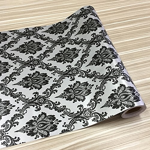 SimpleLife4U Self-Adhesive Grey Shelf Liner Removable Contact Paper for Covering Old Dresser Drawers, Black Damask, 17.7 Inch By 13 (Damask Drawer Organizer)