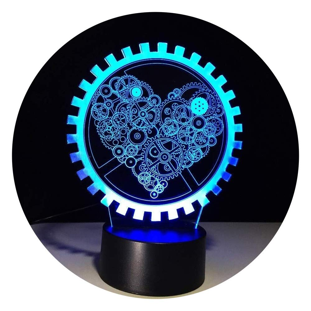 JINXUXIONGDI Visual Stereo Vision Stylish 3D Illusion Gear Love Shape Lights Lead to Sleep Night Light As A Couple and Lovers Gift Party Atmosphere Lighting Decoration Children's Decoration