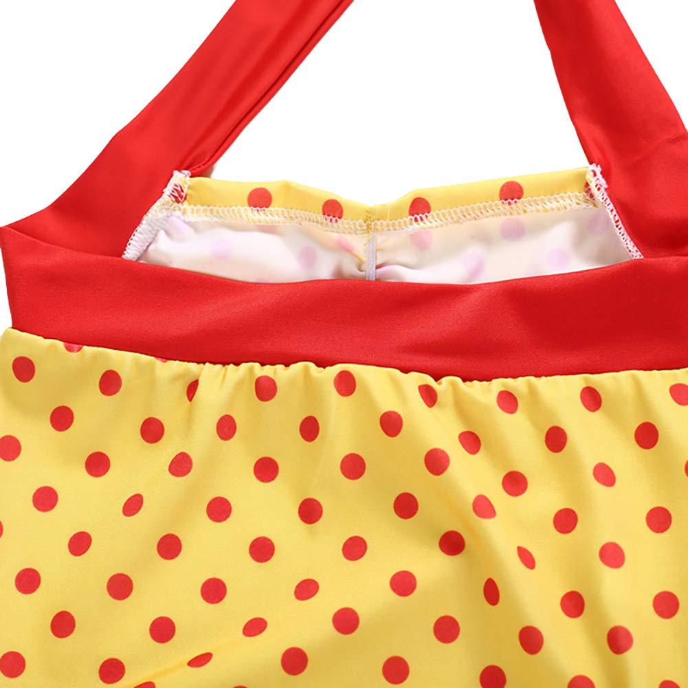 Soly Teche Kids Girls Polka Dot Print Halterneck One-Piece Swimsuits Beach Bathing Suit