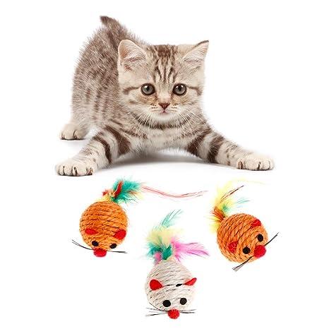 Biniwa Juguete para Gatos para Mascotas, ratón de sisal Falso, Sonido chirriante de Plumas