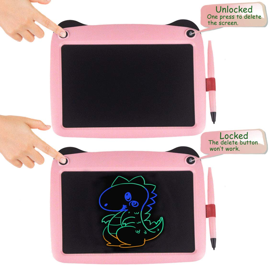 Pink-Pa 9 inch Drawing and Writing Board with Lock Erase Button for School and Office mom/&myaboys Colorful LCD Writing Tablet for Kids Toys for 3-12 Years Old Girls