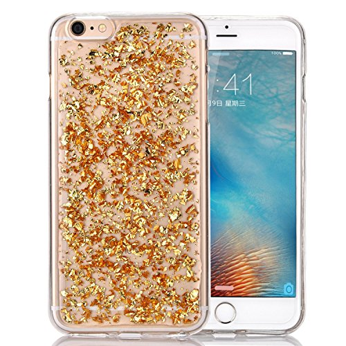Berry Accessory (TM) Luxury Bling Glitter Faceplate Gold Leaf Design Flexible Soft TPU Protective Case Slim Fit for Iphone 6 Plus/6S Plus 5.5 Inch + Berry logo stand holder (Bling Gold)