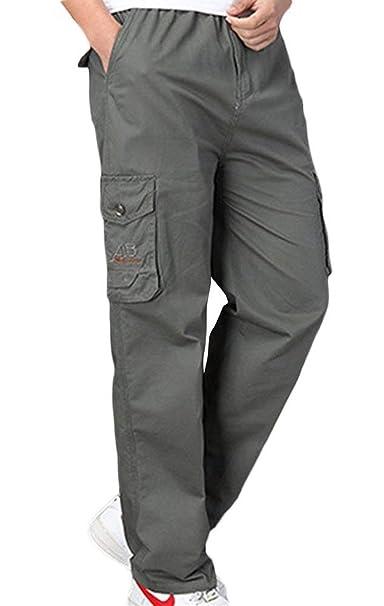 Anchos Bolsillo Pantalones Playa Deportivos ADELINA Hombres para Ocasionales Carga De con Pantalones De Algodón Pantalones Ropa Elásticos con Pantalones De xxfnCwg