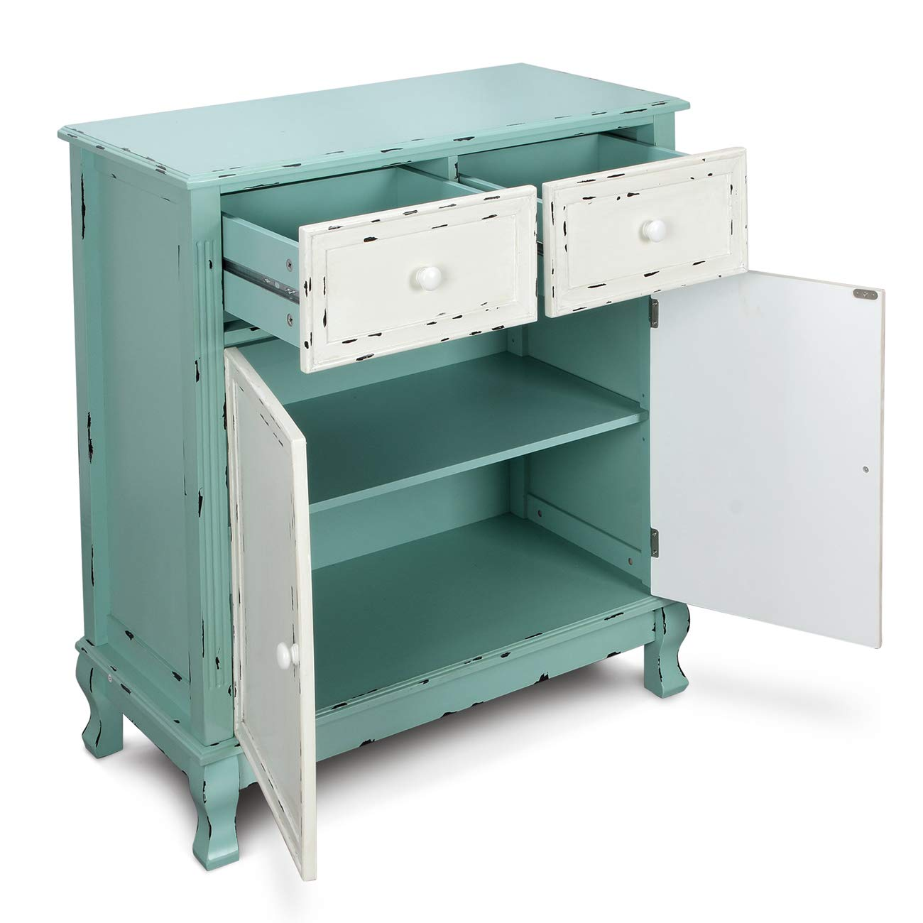 BELLEZE Wood Cabinet with Drawers and Doors Vintage Accent Storage Chest for Entryway, Living Room (Antique Blue) by Belleze (Image #3)