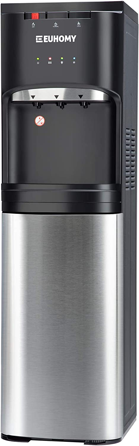 Euhomy Bottom Loading water dispenser, Self Cleaning Stainless Steel water cooler for home, office, living room, 3 or 5 gallon bottle, 3 Temperature Settings, Black