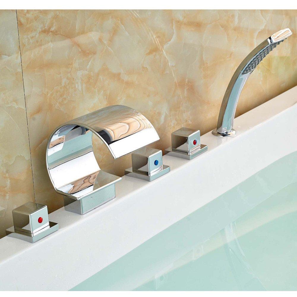CZOOR Drei quadratischen Griffe Wasserfall Badewanne Armatur Deck Mount verbreitete Mischbatterie mit Handdusche