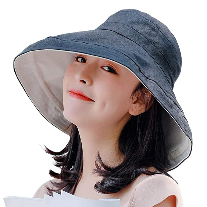 54675e73cd3c5d AMAKU Women Large Brim Sun Hats Packable Foldable UV Protection Bucket Hats  Black