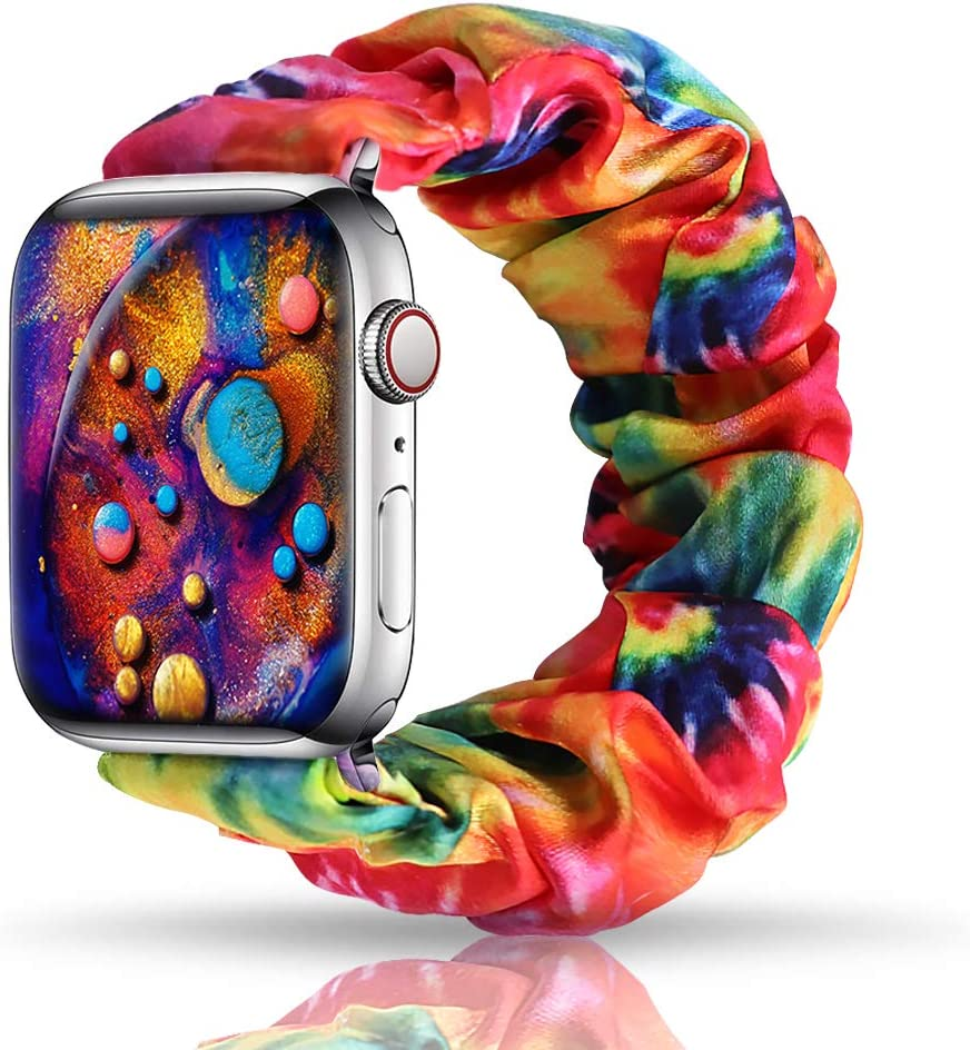 Tie dye Band Compatible with Apple Watch SE Series 6/5/4 40mm, Scrunchie Bands for Apple Watch SE, Soft Elastic Scrunchy Wristbands Replacement for iWatch 38mm Series 3/2/1