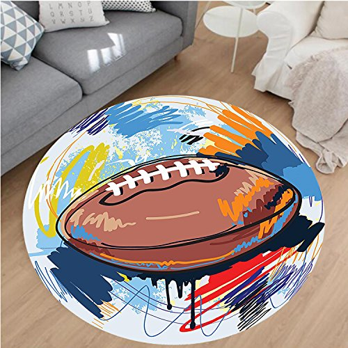 Beige Rug Rust Rugby (Nalahome Modern Flannel Microfiber Non-Slip Machine Washable Round Area Rug-Shape Rugby Ball Sketch With Colorful Doodles Passing Professional Equipment League Multi area rugs Home Decor-Round 28