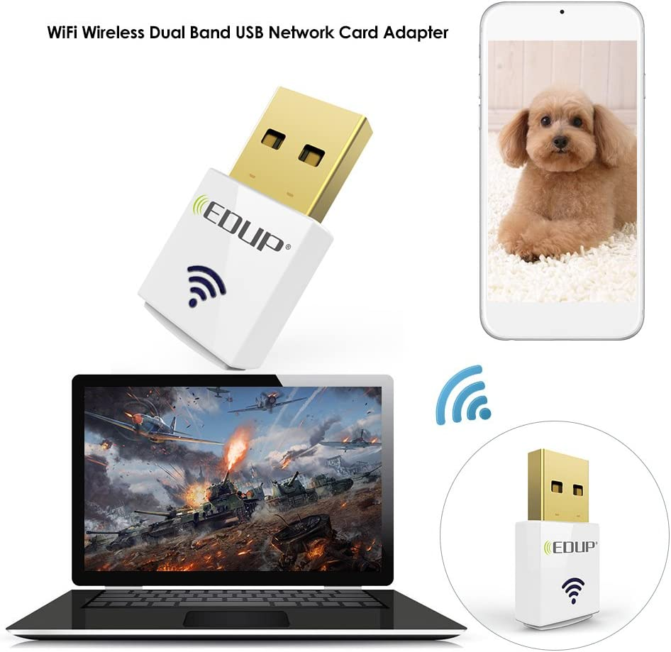 EDUP Mini 2.4G 5.8G 600Mbps WiFi Adapter Wireless Dual Band USB Network Card Adapter IEEE 802.11AC for Desktop Laptop MacBook PC