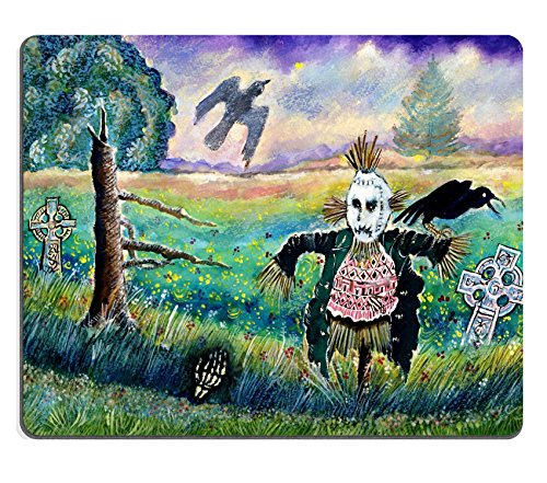 Liili Mouse Pad Natural Rubber Mousepad Halloween Field with Funny Scarecrow Skeleton Hand and Crows Image ID (Mac Fields Halloween)