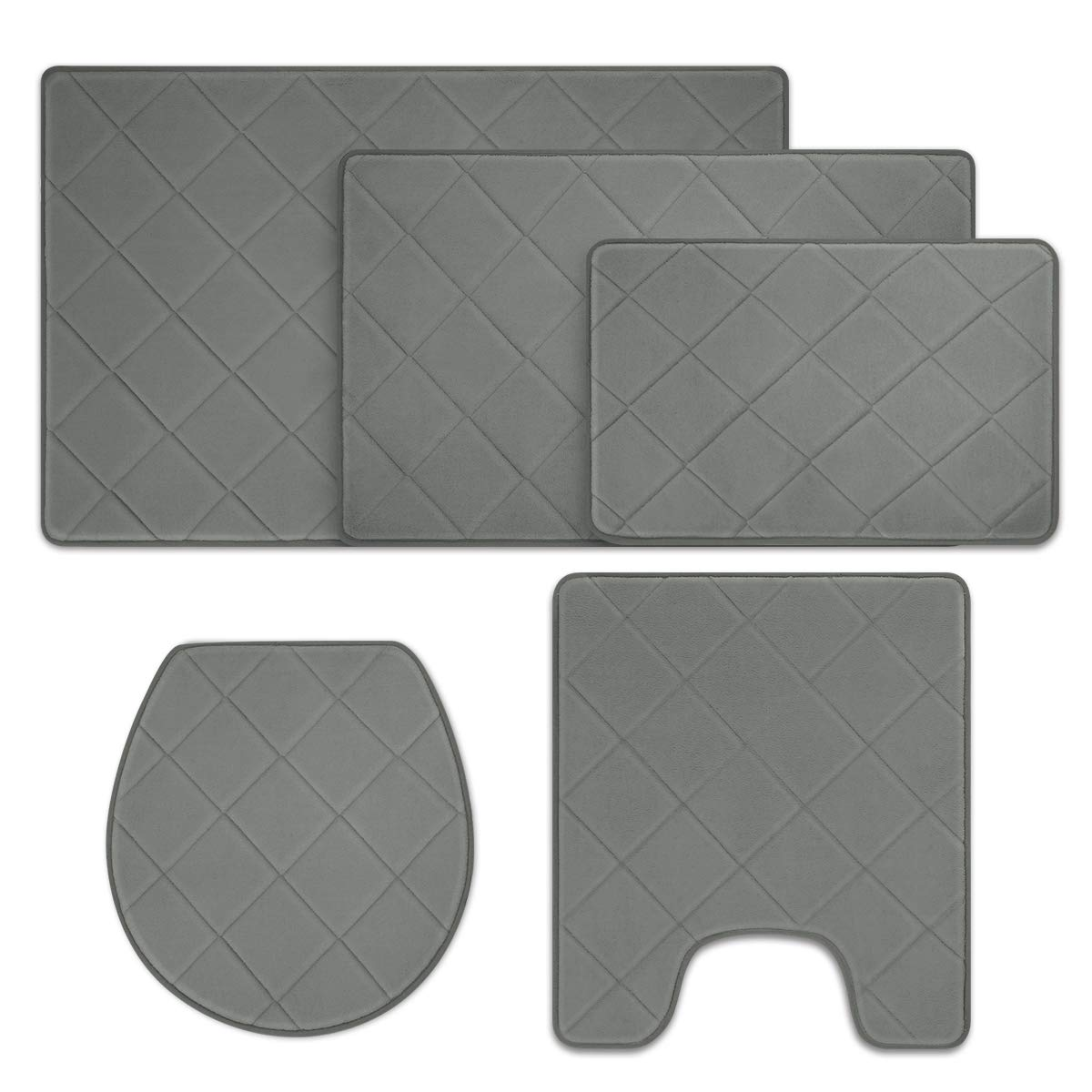 HOMEIDEAS 5 Pieces Bathroom Rugs Set, Non-Slip Bath Rugs Soft & Absorbent Velvet Microfiber Memory Foam Bath Mats Set, Perfect for Bathroom/Shower, Washable Quickly Drying Bathroom Mats Gray