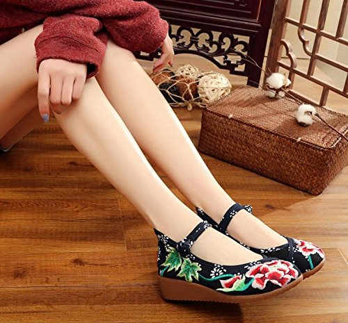 GuiXinWeiHeng Scarpe Aumento casual xiuhuaxie scarpe etnico stile lino confortevole black delle suola ricamate tendine moda a donna da r5rnwaq