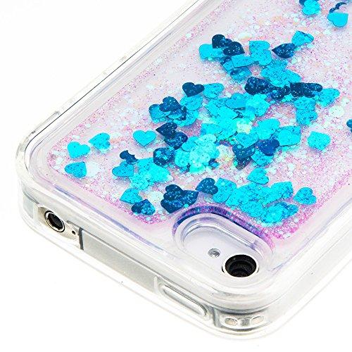 Nnopbeclik Silikon Transparent Hülle Für Apple Iphone 4 / 4S, Durchsichtig Ultra Slim Weich TPU Cover Case Creative Flüssiger Sequins Diamant 3D Bling Bling Blume Case Etui, Schutzhülle Muster Glänzen