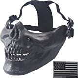 Wwman Airsoft Half Face Skull Mask and Military Patch Outdoor Hunting Cs War Game Mask
