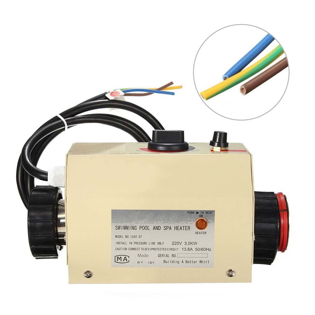 3kw 220v Swimming Pool Bath Spa Hot Tub Electric Water Heater Electrical Wiring Thermostat Size 180 125 125mm