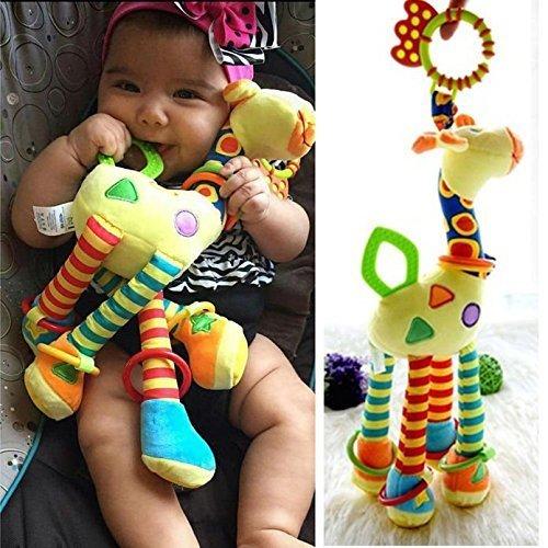 BeeSpring Infant Baby Development Soft Giraffe Animal Handbells Rattles Handle Toys