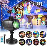 Christmas Projector Lights, infinitoo 17 Patterns Rotating Snowflake Projector Spotlight, Waterproof Outdoor Landscape Lights Festival Use- Christmas Birthday Valentine's Day Easter Party e