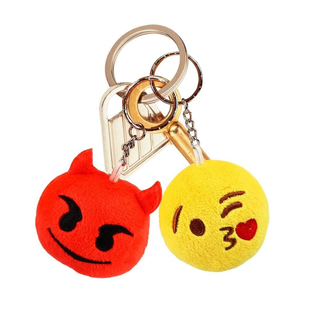 Emoji Party Supplies, Dreampark Emoji Keychain 100 Pack Mini Emoji Plush Pillows for Kids Birthday Party Favors/Easter Eggs Fillers, 2'' Set of 100 by Dreampark (Image #2)