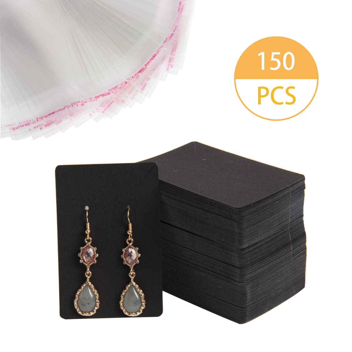 Earring Display Cards Blank Card Tags for DIY Ear Studs 3.5 x 2.3 Inches Earrings Necklaces Kraft Black Hapy Shop 150 Pcs Earring Display Card Necklace Display Cards with 150 Pcs Self-Seal Bags