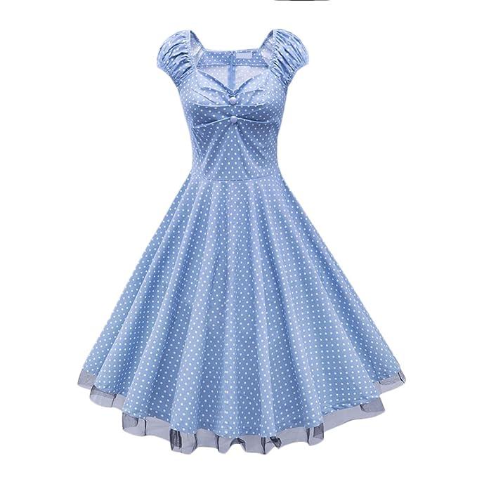 Vestidos Verano Mujer Elegante Estilo De 1950 Una Línea del Niñas Ropa Oscilación Lunares Medium Largos