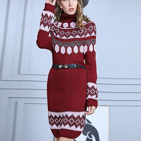 Shenye damski sweter z okrągłym dekoltem, z długim rękawem, geometryczny nadruk, z rolowanym kołnierzem, sweter z dzianiny, do noszenia w czasie wolnym, minisukienka na zimę, ciepły sweter,