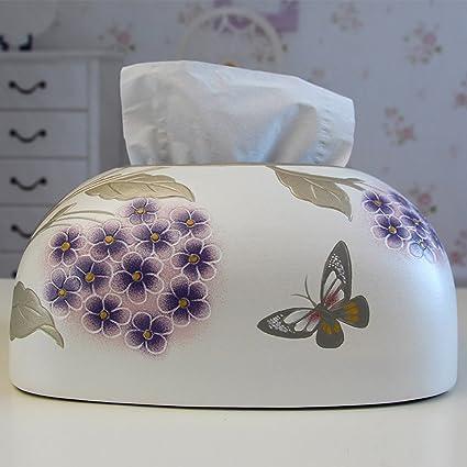 CKH American Purple Flores de Mariposa Pastoral Creativo Europeo Mesa de café Decoración Simple Pintado a