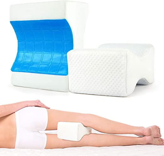 Spine Alignment Leg Hip Pregnancy Cushion Leg Support ZIRAKI Memory Foam Wedge Contour Orthopedic Knee Pillow for Sciatica Nerve Relief and Joint Pain Back