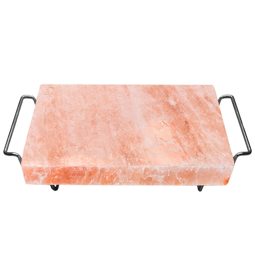 Majestic Pure Himalayan Salt Block - 100% Pure Pink Himalayan Salt, with Stainless Steel Holder, 12in x 8in x 1.5in