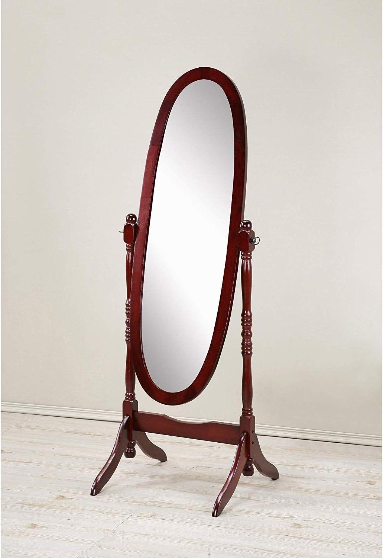 GTU Furniture Swivel Adjustable Full-Length Oval Wood Cheval Floor Mirror, in White/Black/Cherry/Oak/Silver/Gold Finish (Cherry)