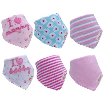 Absorbent Cotton Feeding Bandana Dribble Bibs for Babies and Toddlers 10-Pack UK