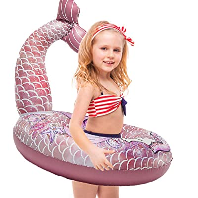 Happytime Cute Mermaid Tail Pool Float 30 Inches Cute Mermaid Inflatable Pool Float Swimming Ring Summer Party Beach Lounge Lilos for Kids…: Toys & Games