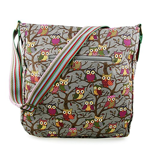 Borsa Messenger in tela Miss Lulu, (Owl Grey), Medium
