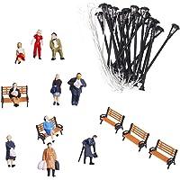 Segolike People Figures 1:75 /Bench 1:100 /Lamppost Lights Models 1:87 Layout Scenery