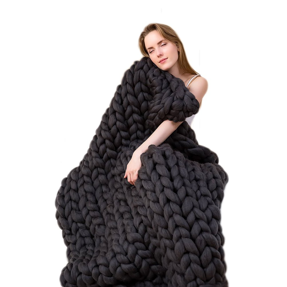 ACARPO Chunky Knit Blanket Handwoven Wool Yarn Knitting Throw Bed Sofa Super Warm Home Decor Black 40''x79''