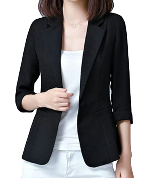2bf63196a05 Domple Womens Solid Business Lapel One Button Plus Size 3 4 Sleeve Blazer  Jackets at Amazon Women s Clothing store