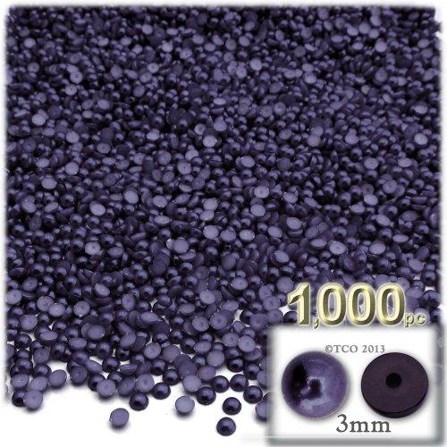 工芸のアウトレット1000-pieceパール仕上げHalf Domeラウンドビーズ 3mm ブルーベリーパープル