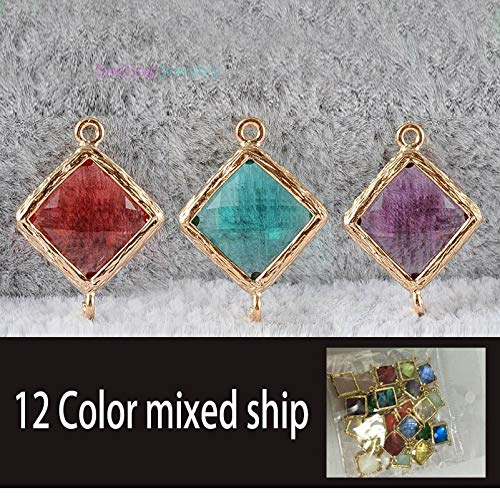 - 24pcs Mixed 12 Color Square Imitation Zircon Glass Faceted Bezel Framed Connector Pendant for DIY Bracelet Necklace Earring