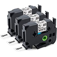 """MarkDomain Compatible Label Tape Replacement for Brother TZe-241 TZ-241 Black on White Laminated 0.7"""" x 26.2'(18mm x 8m), Compatible with P-Touch Label Maker PT D600 P700 P750W P710BT E550W (3 Pack)"""