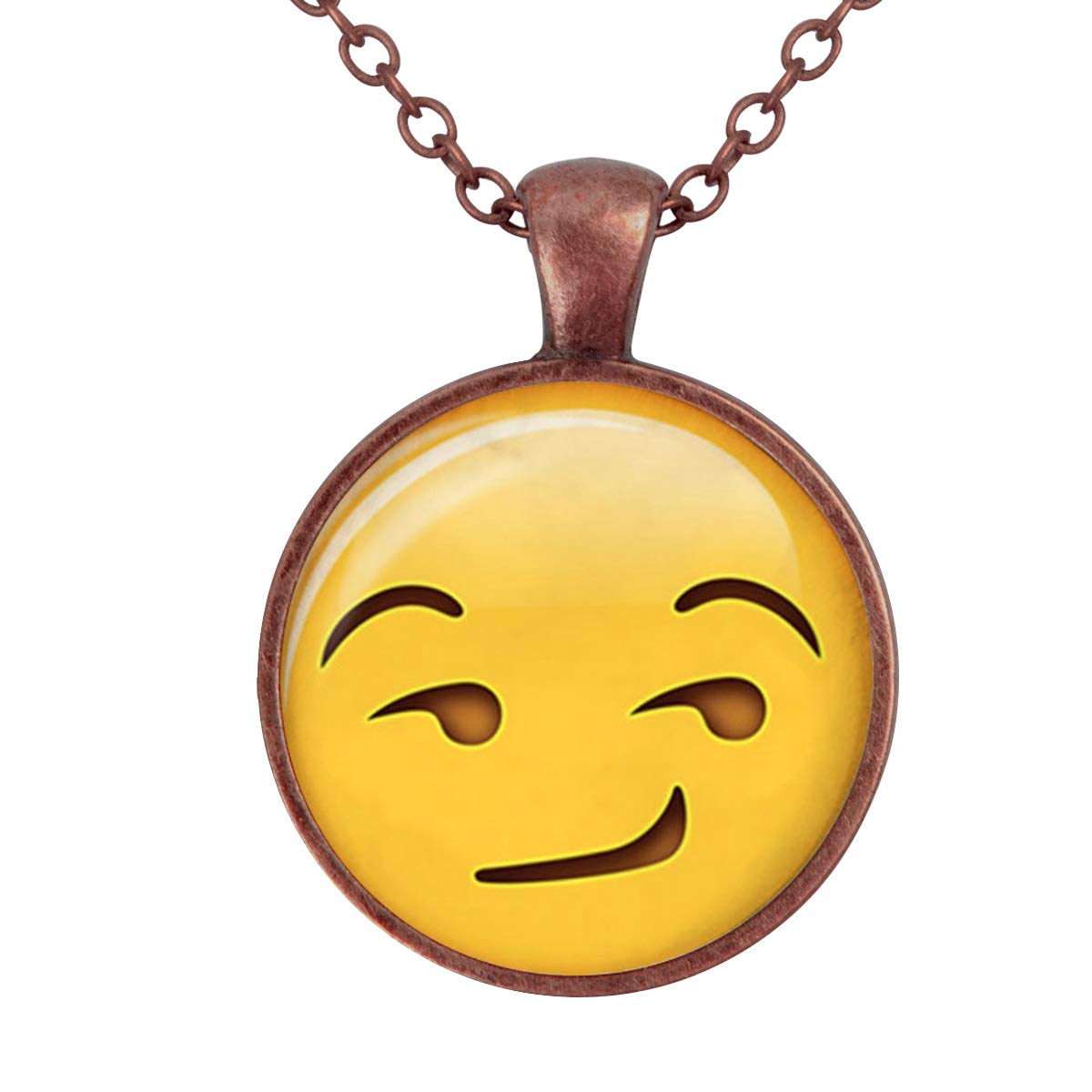 Lightrain Emoji Face Sinister Pendant Necklace Vintage Bronze Chain Statement Necklace Handmade Jewelry Gifts