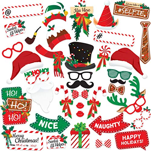 Christmas Party (38 Piece) Photo Booth Props Kit for Pictures - Artist Rendered Xmas Supplies Set - Backdrop Decoration Décor - Variety Favors & Games For Kids and Adults